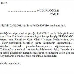 Öğretmenlere Erdoğan talimatı