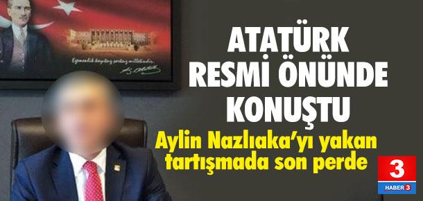 CHP'li Yılmaz Atatürk posteri önünde konuştu