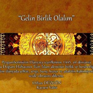 """Vali Orhan Düzgün'ün """"Kutlu Doğum Haftası"""" Mesajı"""