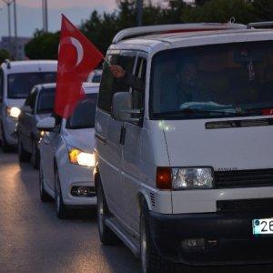Şehit evine 150 kişilik taziye konvoyu