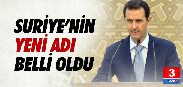 Suriye'nin ismi değişiyor...