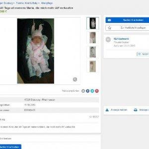 40 günlük bebeğini internette satmak istedi