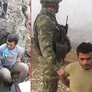 Yaralanan PKK'lı teröristin yakalanma anı