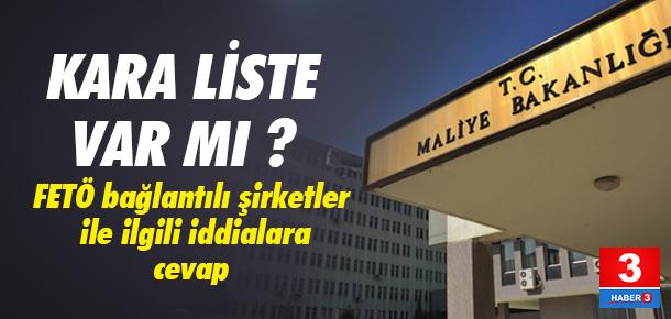 Maliye Bakanlığı 'kara liste' iddilarını yalanladı