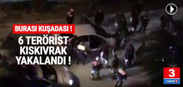 6 YPG'li teröristin yakalanma anı kamerada