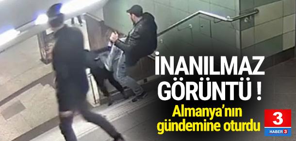 Merdivenlerden inen kadına tekmeli saldırı