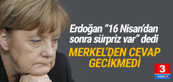 Merkel'den Erdoğan'a sürpriz cevabı