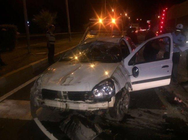 Alkollü polis aracıyla takla attı !