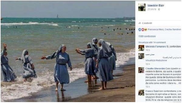 İmam denize giren rahibelerin fotoğrafını paylaşınca...